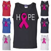 HOPE Breast Cancer Awareness Pink Ribbon Cure Survivor Fight Breast Cancer Tank Top