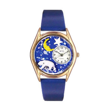 Whimsical Watches Healthcare Nurse Gift Accessories Polar Bear Royal Blue Leather And Goldtone Watch