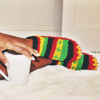 Rasta Hand Knit Wool Ankle Slipper Socks | Tibetan Socks