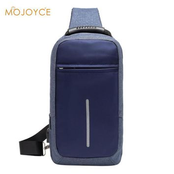 Canvas Zipper Chest Bag USB Charging Chest Pack Shoulder Handbag Casual Men Large Capacity Crossbody Bag Fashion Chest Pack 2018