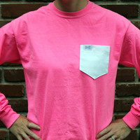 Unisex Long Sleeve Logo Tee Shirt in Neon Pink Flamingo with White Oxford Pocket by the Frat Collection