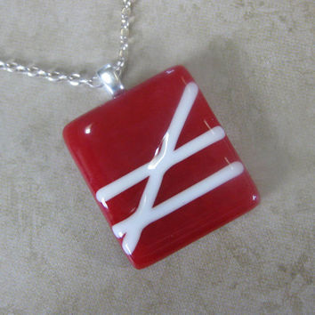 Fused Glass Necklace Red White - Crossroads by mysassyglass