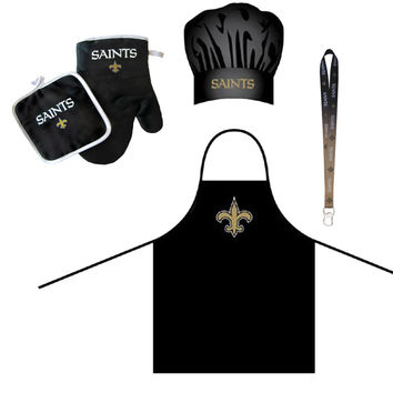 New Orleans Saints NFL Barbeque Apron and Chef's Hat and Oven Mitt with Bottle Opener