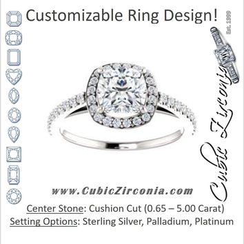 Cubic Zirconia Engagement Ring- The Catherine Lea (Customizable Cushion Cut Design with Halo and Stackable, Thin Pavé Band)