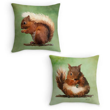 Red Squirrel Throw Pillow, Garden Wildlife Scatter Cushion, 16x16, Kitchen Decor, Country Garden Decor, Cushion Cover