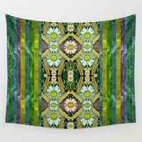 Bread sticks and fantasy flowers in a rainbow Wall Tapestry by Pepita Selles