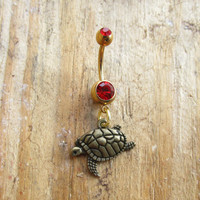 Turtle Belly Button Ring, Belly Button Jewelry, Gold Turtle Belly Ring, Body Jewelry, Navel Rings, Sea Turtle Charm.