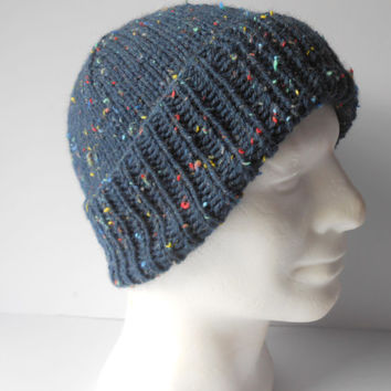 Cuffed Beanie. Men's Beanie. Handknit Watchcap. Fitted Beanie. Brimmed Hat. Gift for him. Navy Seamans hat. Slouchy Navy Tweed Hat.