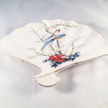 JAY Fine China, Japan, Trinket Dish, Geisha Fan, Fan, Birds, Floral, Home Decor, Vanity