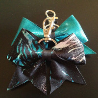 Teal Lightning Cheer Bow Keychain