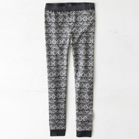 AEO Women's Fair Isle Knit Legging (Charcoal)