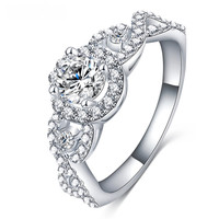Platinum Plated Engagement Wedding Promise Ring for Women