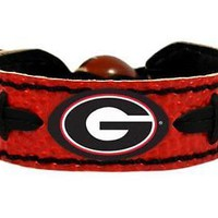 Georgia Bulldogs NCAA Team Color Football Leather Bracelet
