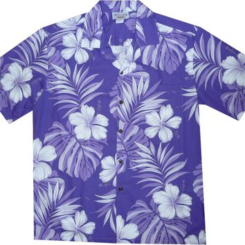 Waikiki Purple Hawaiian Cotton Aloha Shirt