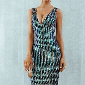She Is My Lady Multicolor Sequin Midi Dress