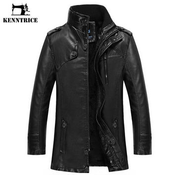 Men Winter Leather Jacket Faux Fur Coat Luxury Fashion Thicken Warm Long Trench Men Sheepskin Coat