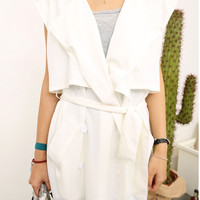 White Fall Fashion Vest