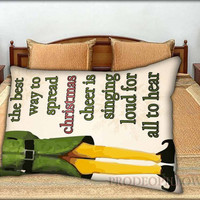 """Christmas Elf Quote - 20 """" x 30 """" inch,Pillow Case and Pillow Cover."""