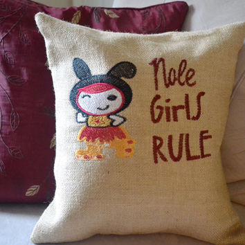 "Embroidered FSU ""Nole Girls Rule"" Cushion Cover - Pillow Cover - Florida State - Seminole - Graduation Gift  - FSU Alum"