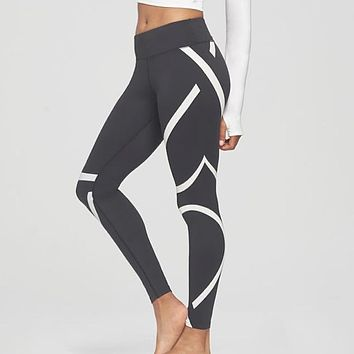 Stripe Print Leggings Sporting Women Fitness Clothing Skinny Pants High Elastic Waist Workout Leggings Adventure Time Trousers