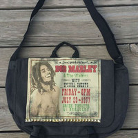 Bob Marley & The Wailers Extra Large Studded Vintage Berkeley Concert Poster Messenger Crossbody Bag