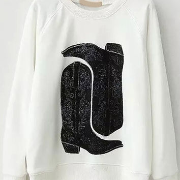 White Boots Print Long Sleeve Sweatshirt