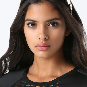 bebe Womens Velvet Gold Coin Headband Black Gold