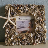 Seashell picture frame  Home Decor by JustShellin on Etsy
