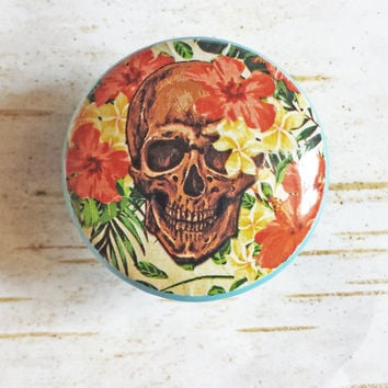 Skull and Hawaiian Flowers Knob Drawer Pulls, Birch Wood, Tropical Style Cabinet Pull Handles, Skeleton Dresser Knobs, Made to Order