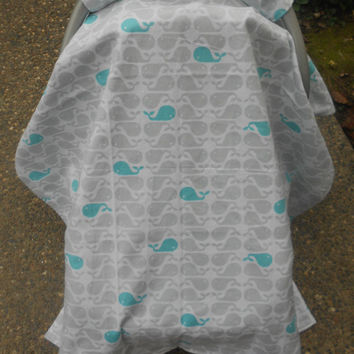 Whale car seat canopy, car seat cover, car seat tent