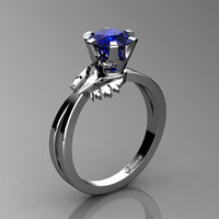 Swan 14K White Gold 1.0 Ct Blue Sapphire Fairy Engagement Ring R1030-14KWGBS