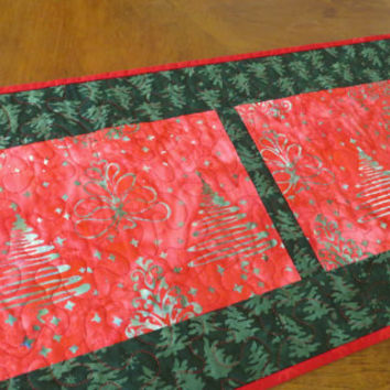 Quilted Holiday Table Runner - Christmas Tree Batik 501