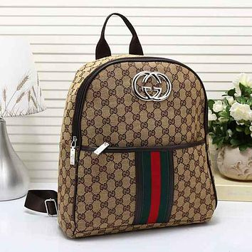 Gucci Men Leather Bookbag Shoulder Bag Handbag Backpack