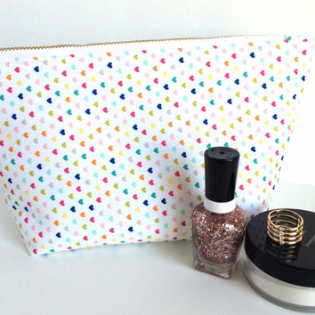 Large Makeup Bag, Large Zipper Pouch, Heart Makeup Bag, Heart Zipper Pouch, Travel Zipper Bag