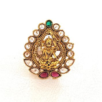 Tear drop shaped Goddess Lakshmi center Traditional adjustable Finger ring - Design 1