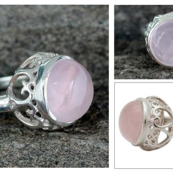 Rose quartz solitaire ring, 'Romantic Delhi'