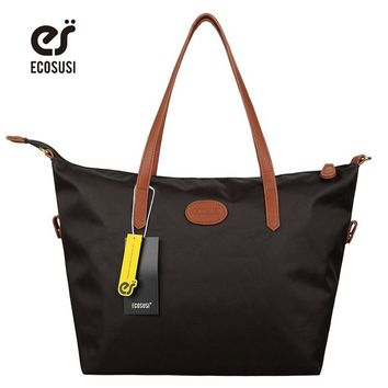ECOSUSI New Waterproof Women Tote Bags Women Travel Beach Bags Foldable Nylon Women Clutch  Casual Women Handbag Shouder Bags