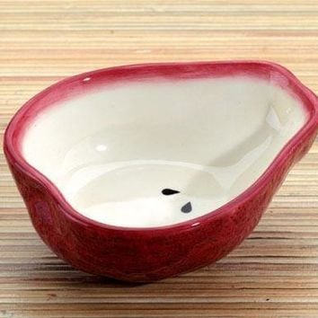 Red Pear Ceramic Dipping Bowl, Set Of 2 - 8583