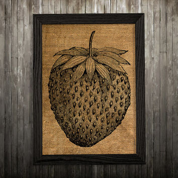 Kitchen print Strawberry art Burlap poster Berry print BLP706