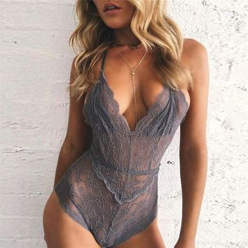 ONETOW Lace Up Solid Strap Deep V-Neck Romper Jumpsuit Underwear Lingerie Set-3