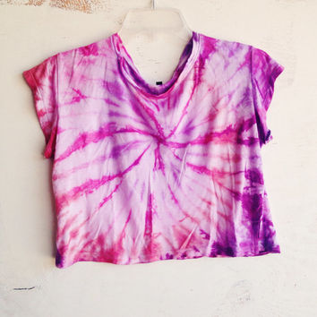 Purple Pink Tie Dye Crop Top Spiral Tie Dyed Cropped Top Size S