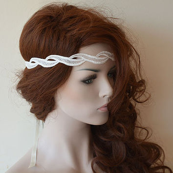 Rustic Lace Wedding Headband,  Ivory Lace Headband,  Bridal Hair Accessory, Rustic Wedding Hair Accessory