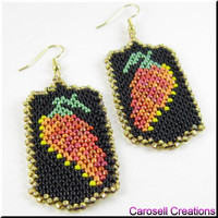 Chili Peppers Seed Beaded Earrings Dangle Beadwork