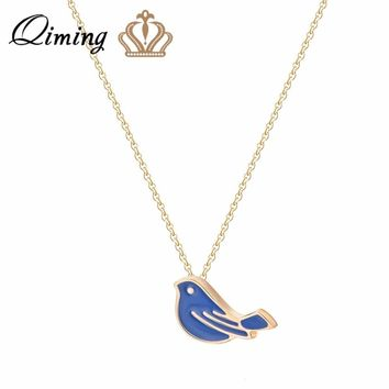 QIMING Summer Bird Pendant Necklace Mini Animal Blue Color Fashion Ladies Jewelry Birthday Gift Lovely Artistical Necklaces