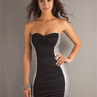 Sweetheart Slim-line open back black and white Mini with decorated side Cocktail Dress Cocktail Dress CTD120