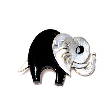 Taxco Sterling Elephant Brooch, Black Onyx, Lucky Elephant, Vintage 1970s, Mexican Silver Jewelry, Signed, Figural Animal Pin, Taxco Mexico