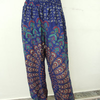 Harem Trouser Pants- Baggy Genie Harem Pants Trouser jumpsuit Yoga Boho Gypsy Indian women Flower Printed Pants