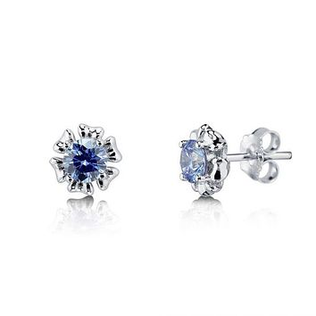 1CT Round Brilliant Cut Blue Swarovski Zirconia Floral Stud Earrings