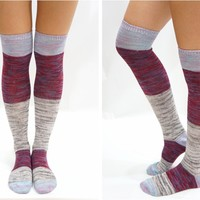Pastel Block Knitted Thigh High Knee High Socks - Grey
