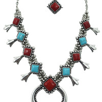 Western Red and Blue turquoise Navajo Squash Blossom Necklace & Earrings Set